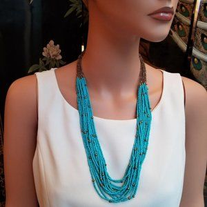 Turquoise Blue Micro Beaded Summer Necklace